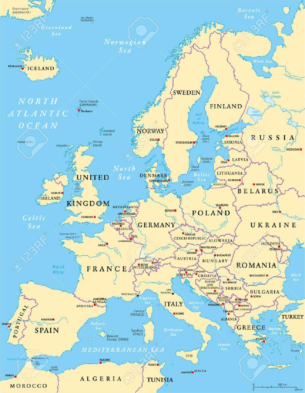 Carte De Leurope Politique Et La Région Environnante Avec Les Pays Les Capitales Les Frontières Nationales Les Grandes Rivières Et Les Lacs