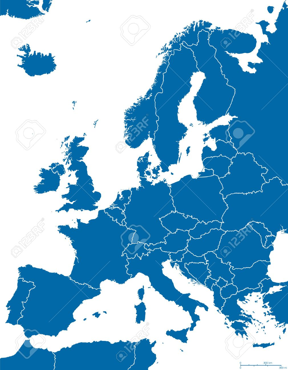 europe political map and surrounding region with all countries and national borders blue outline illustration