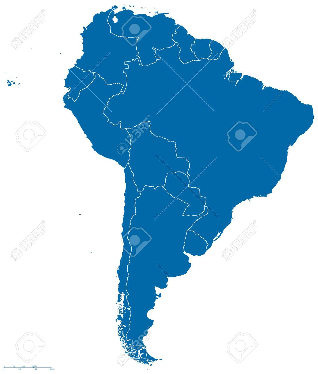 Political map of South America with all