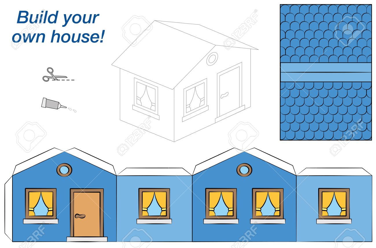 Paper Model Of A Blue House   Easy To Make. Isolated Vector Illustration On  White
