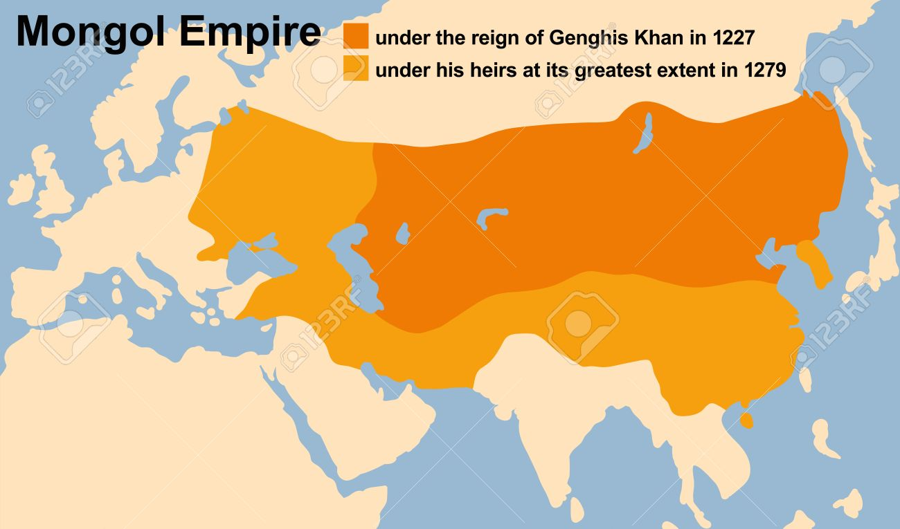 Genghis Khans Mongol Empire in 1227 and at its greatest extent in 1279.  Vector illustration