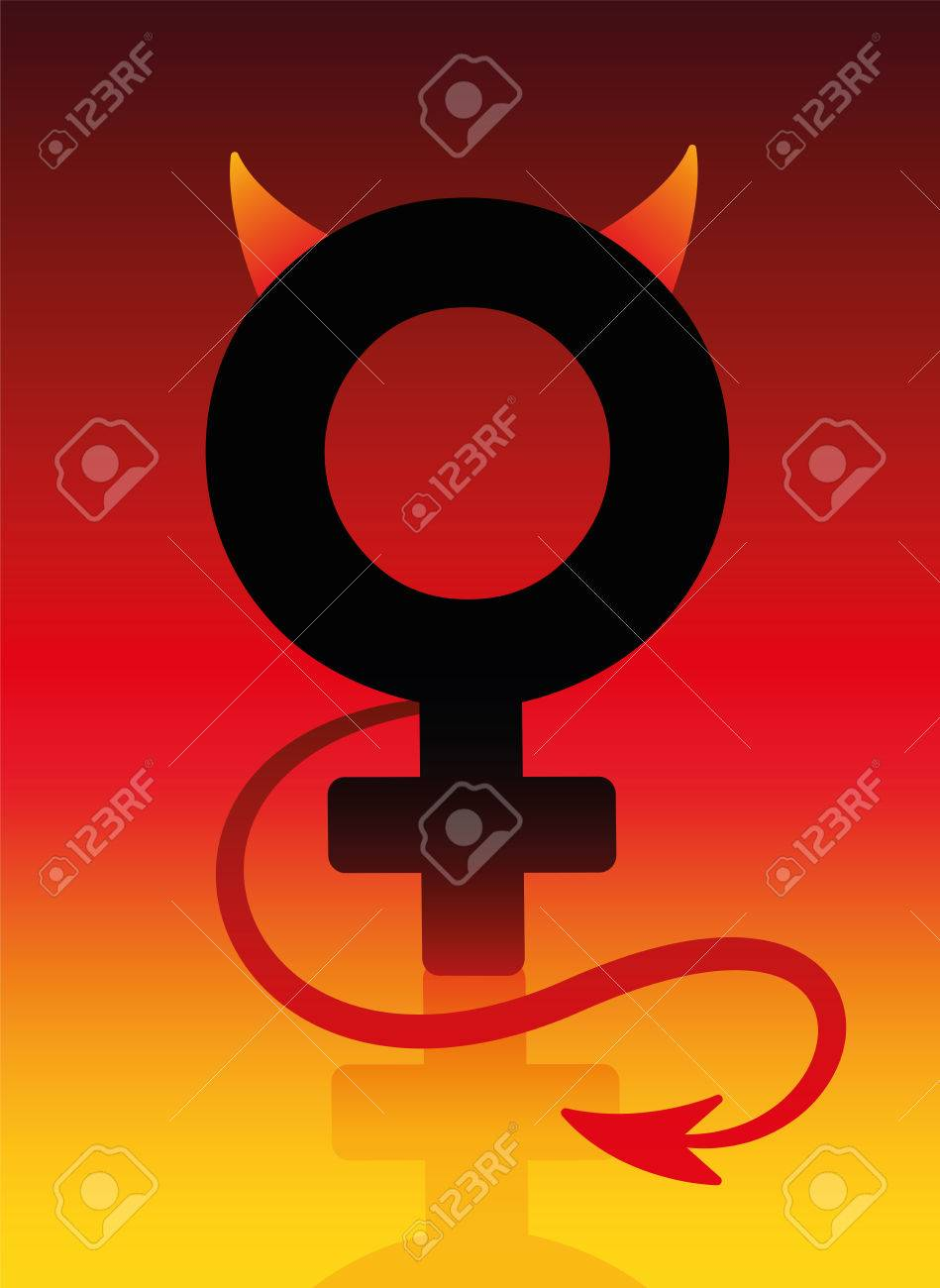 Female devil sign with tails and horns on blazing background female devil sign with tails and horns on blazing background as a symbol for a bad buycottarizona