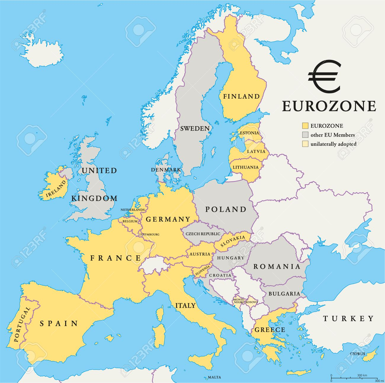 Eurozone Countries Map With National Borders Eurozone Countries - Belgium eurozone map