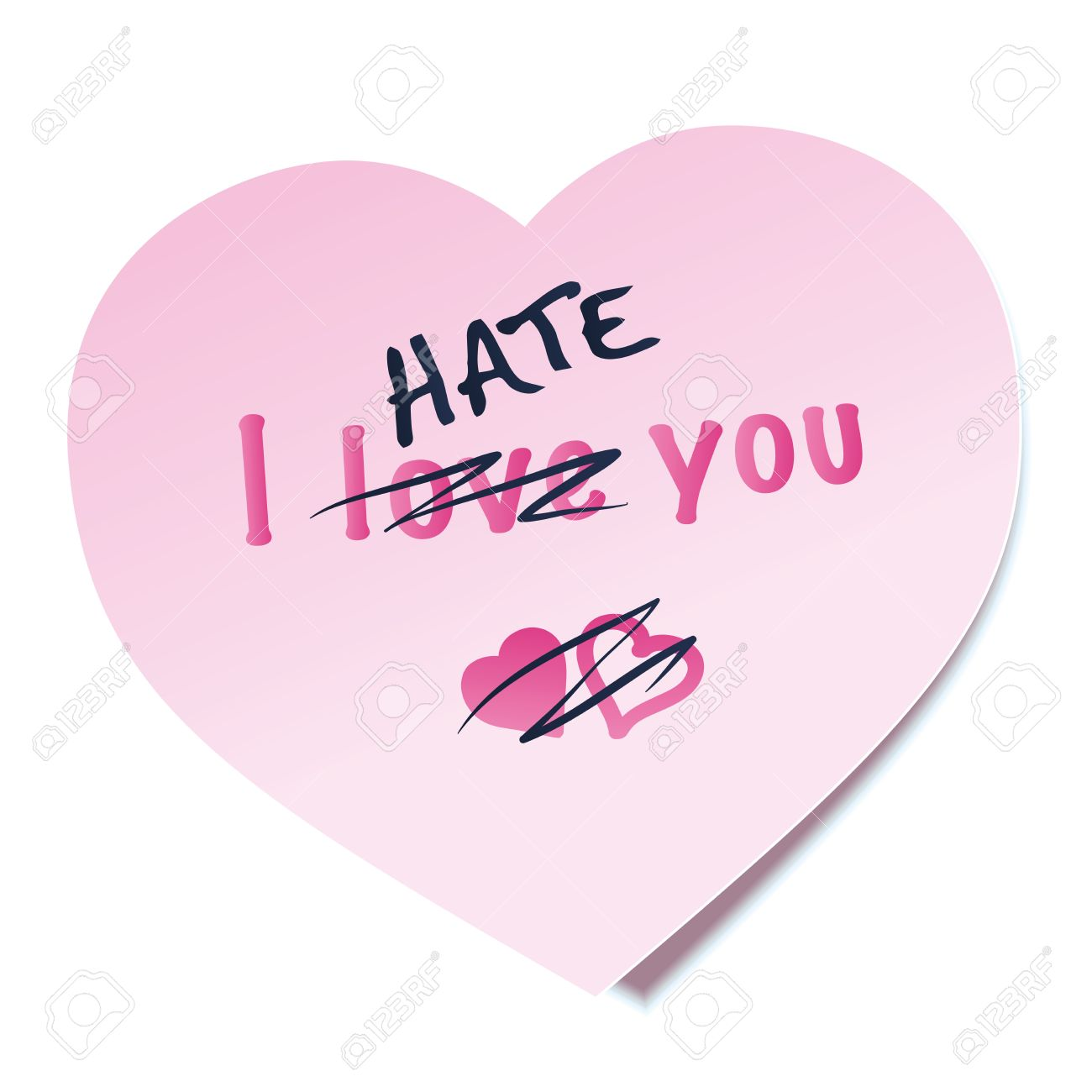 I Hate You Written On A Heart Shaped Pink Sticky Note The Word
