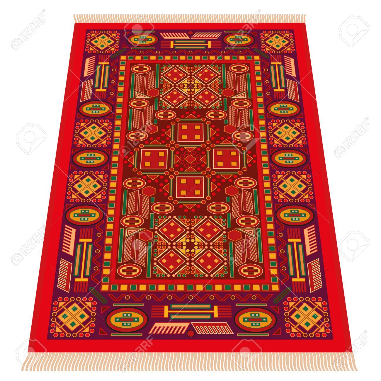 banque dimages tapis oriental rouge la prsentation en perspective isolated illustration vectoriel sur fond blanc - Tapis Oriental Rouge