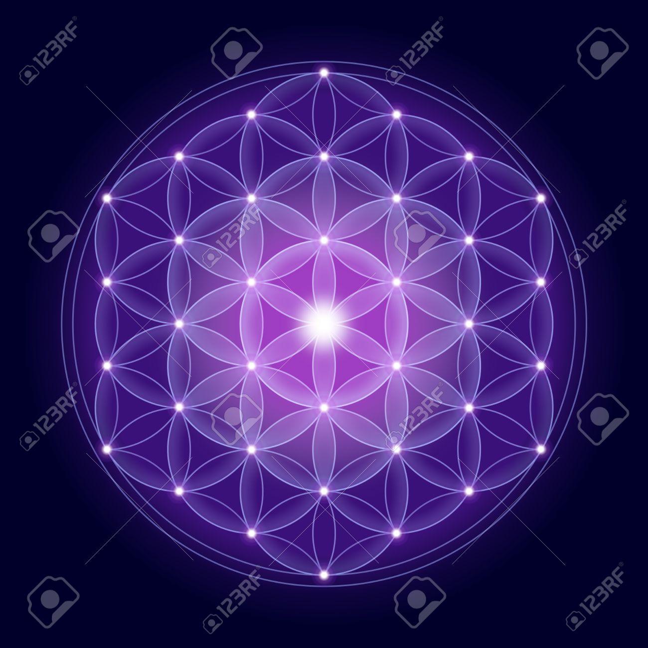 Fleur de vie lumineux avec des étoiles sur fond bleu foncé, un symbole spirituel et la géométrie sacrée depuis les temps anciens. Banque d'images - 38616351