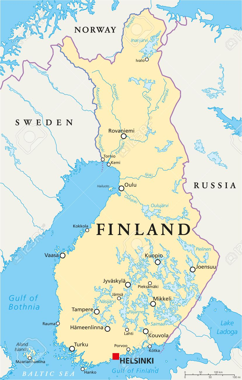 Finland Political Map With Capital Helsinki National Borders - Aland islands political map