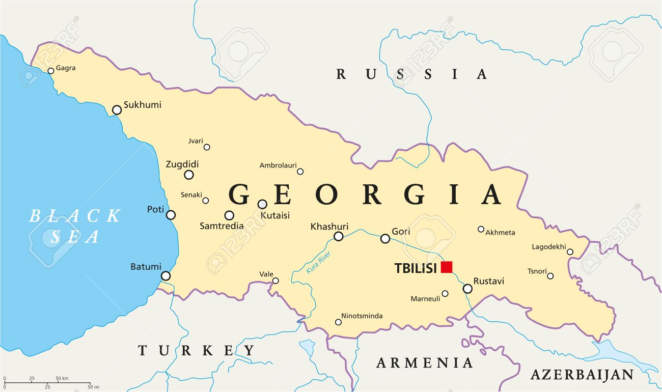 Georgia Political Map With Capital Tbilisi With National Borders - Ga map vector