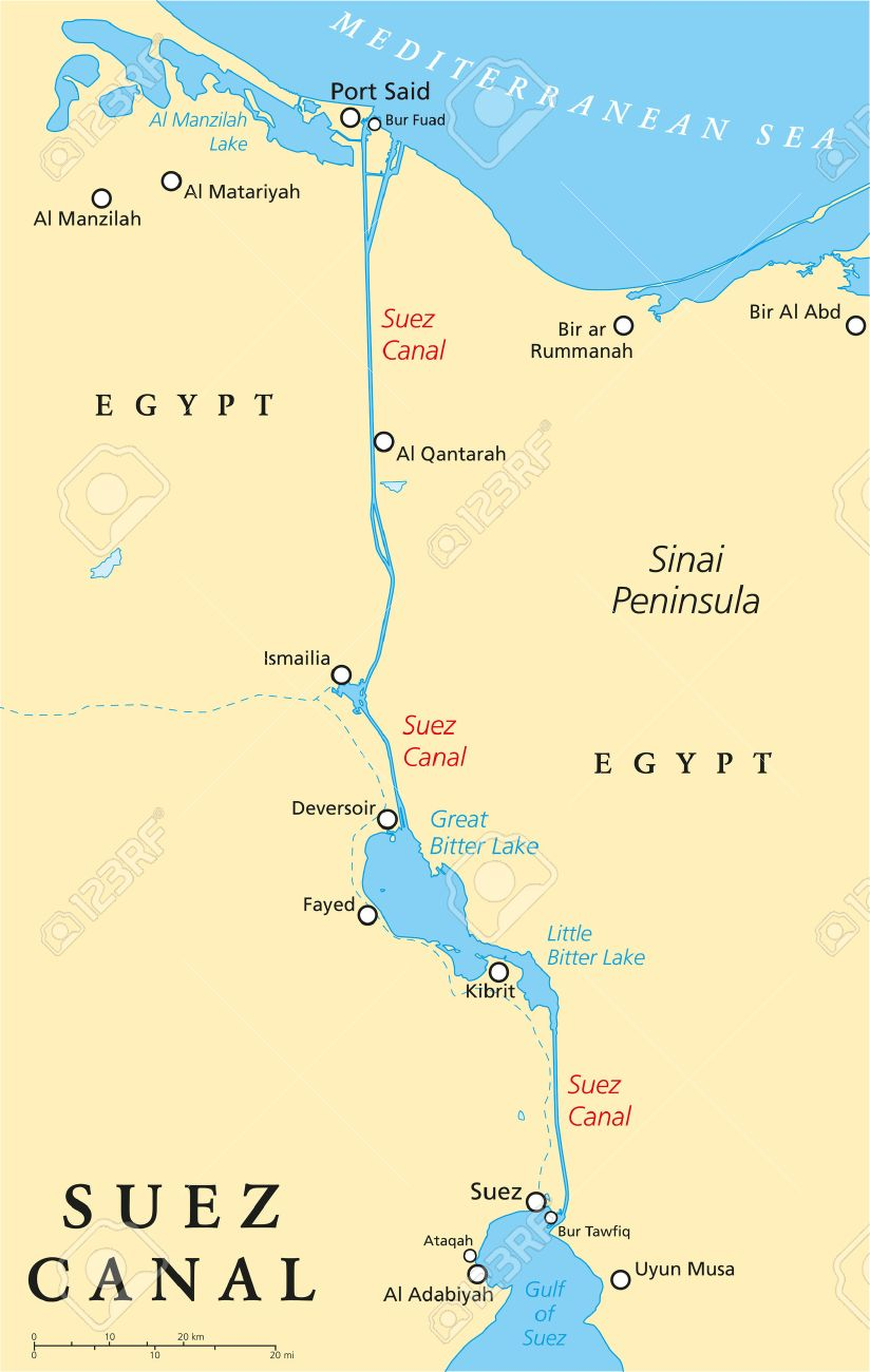 Suez Canal Political Map Artificial Sea level Waterway In Egypt
