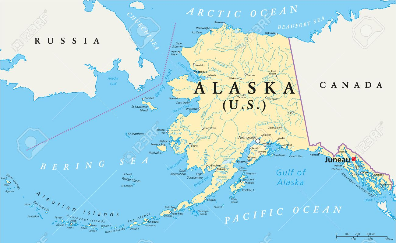 US State Alaska Political Map With Capital Juneau, National Borders ...