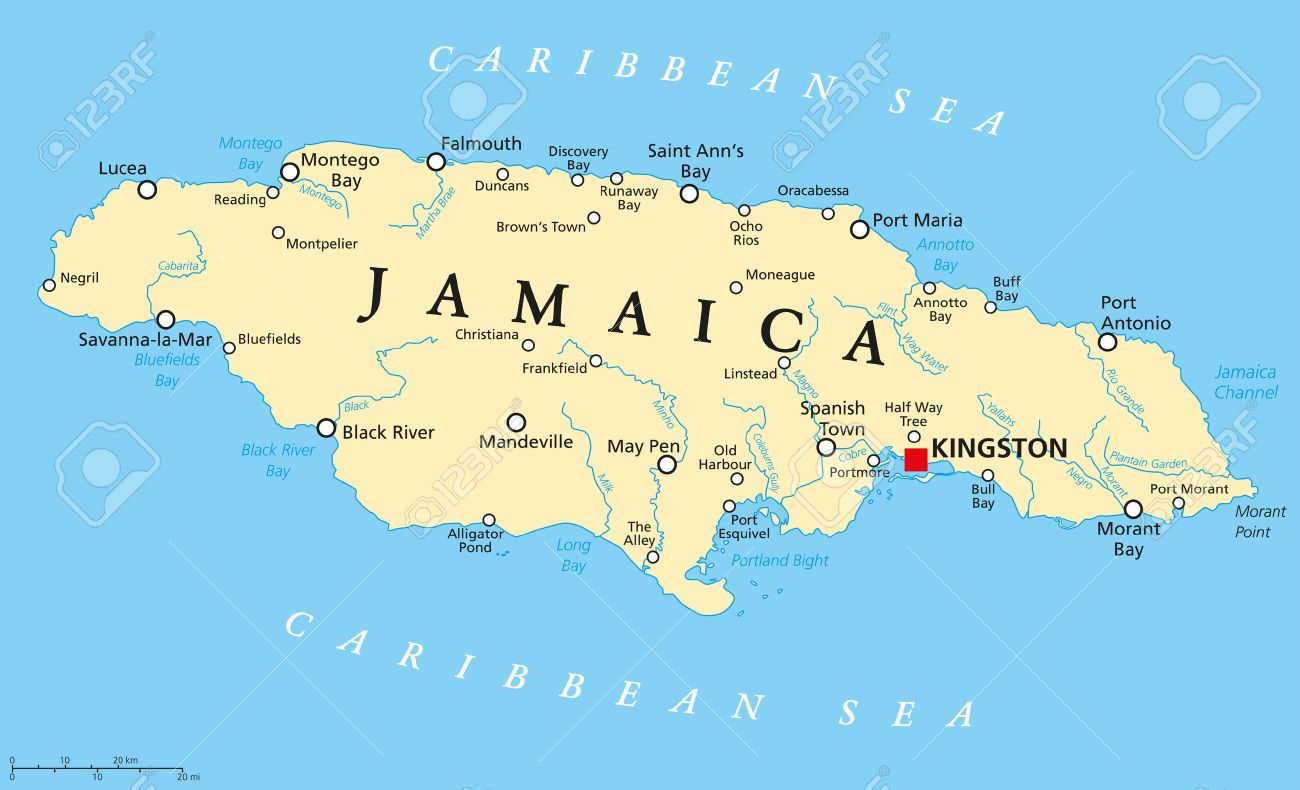 Jamaica Political Map With Capital Kingston Important Cities - Political map of jamaica