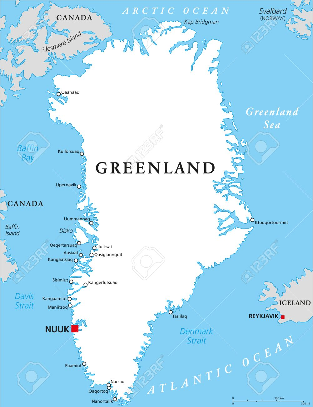 greenland political map with capital nuuk and important cities autonomous country within the kingdom of
