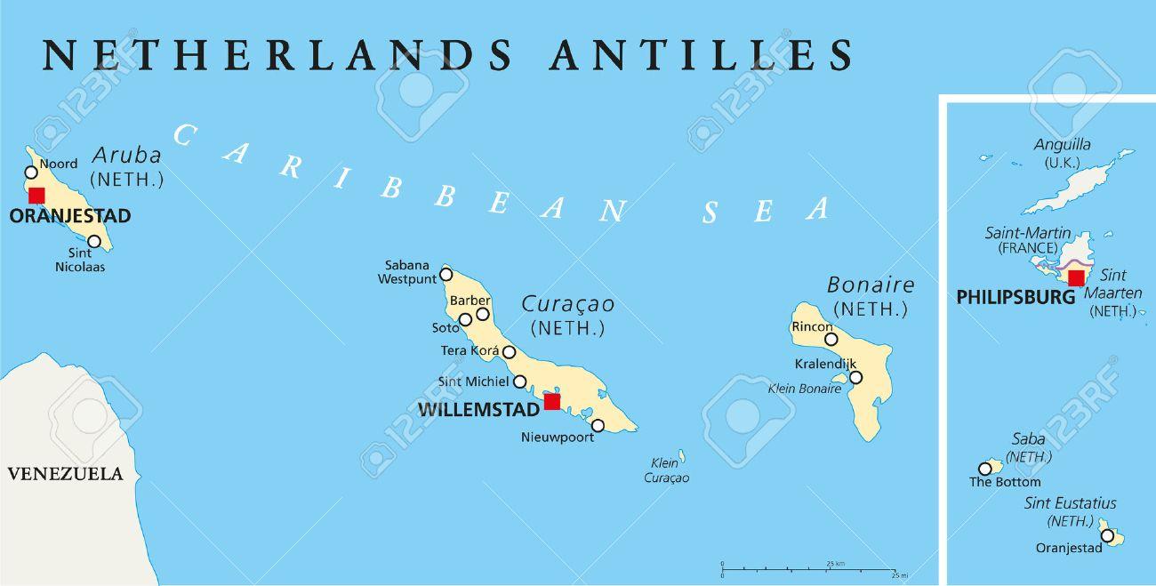 Nederlandse Antillen Politieke Kaart Aruba Curacao Bonaire