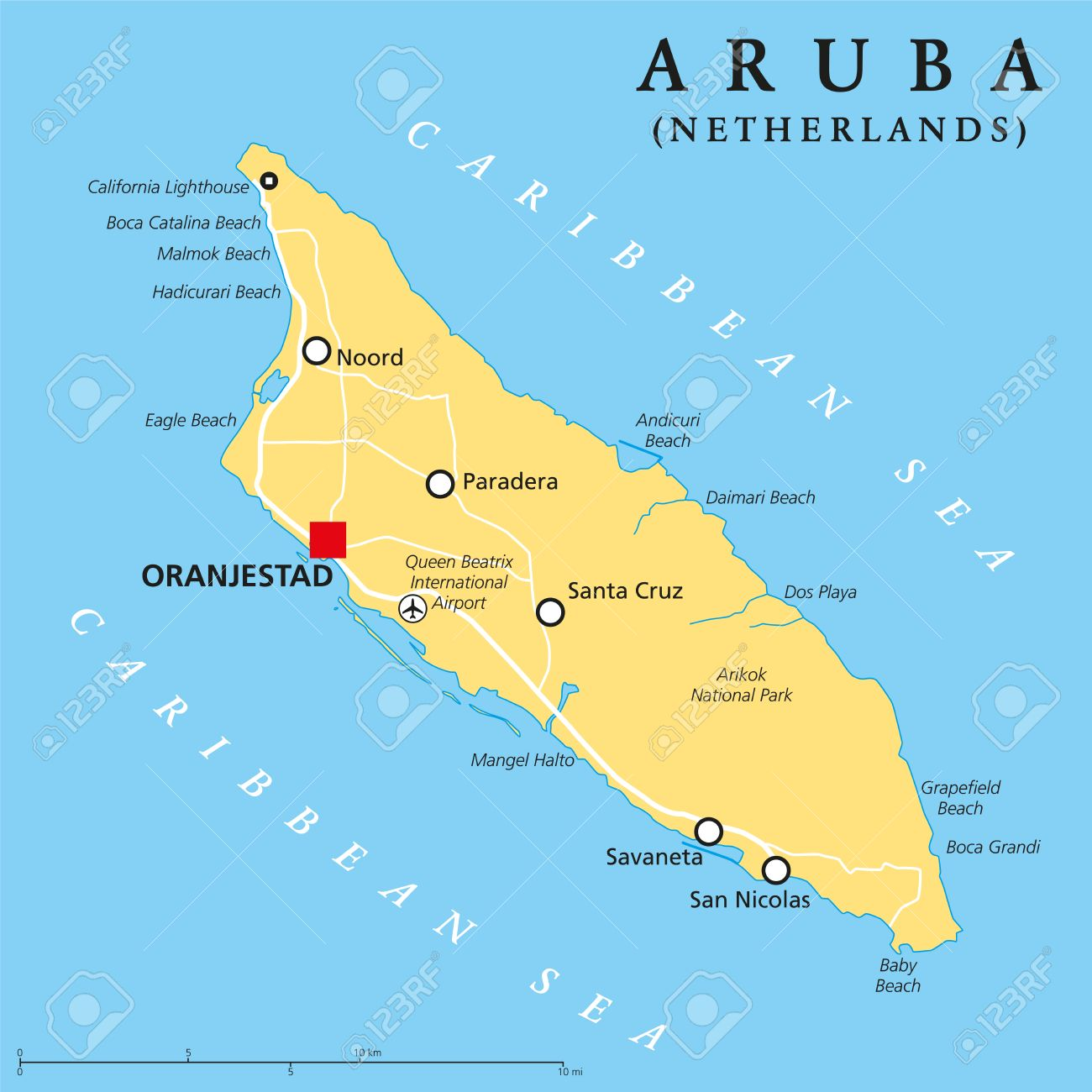 Aruba Political Map With Capital Oranjestad And Important Cities - Aruba map vector
