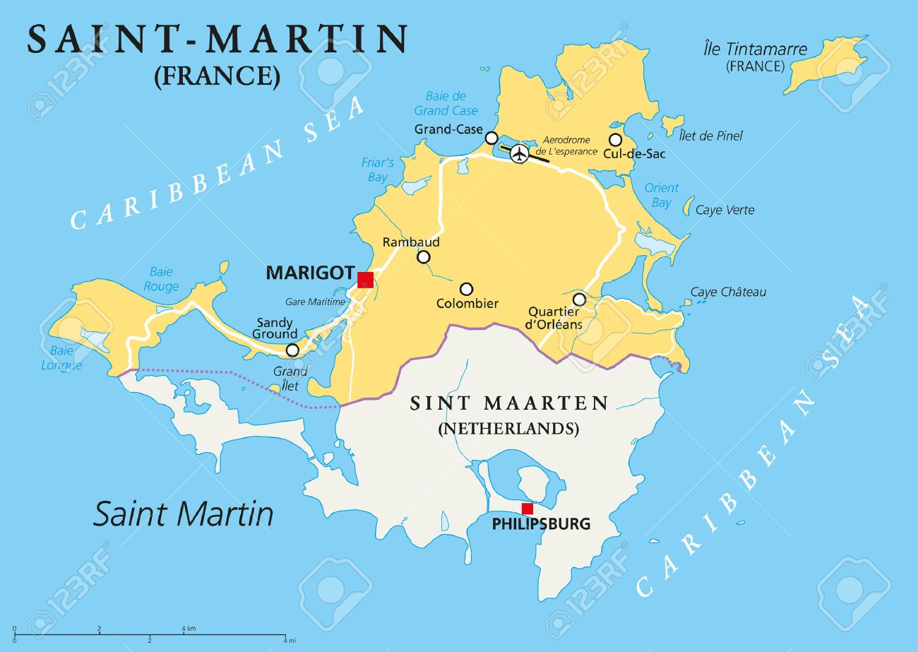 Saint-Martin Country Political Map. The Northern Part Of The ...