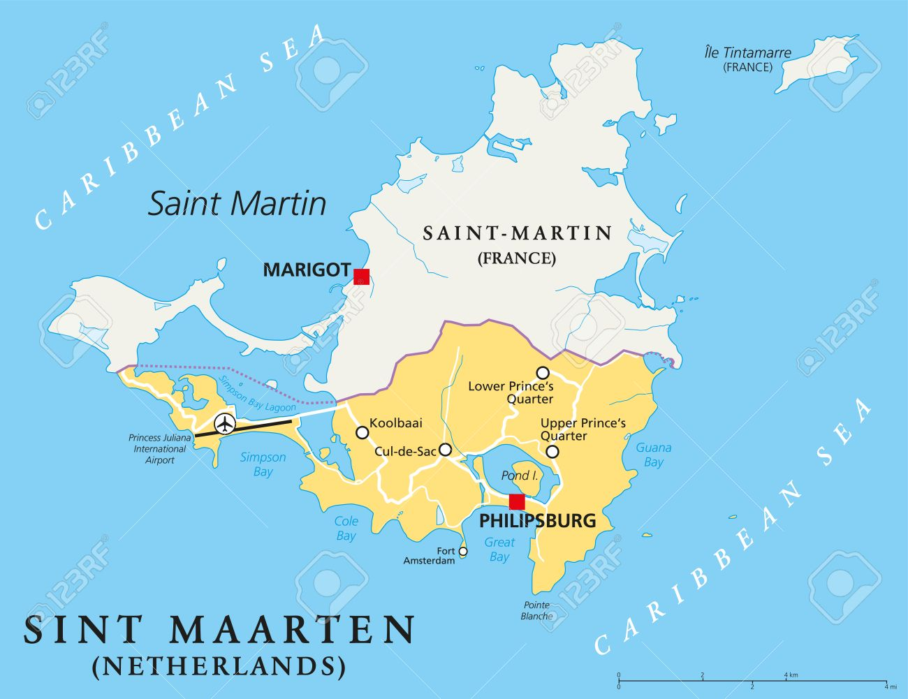 Sint Maarten Political Map The Southern Part Of The Caribbean - Southern caribbean map