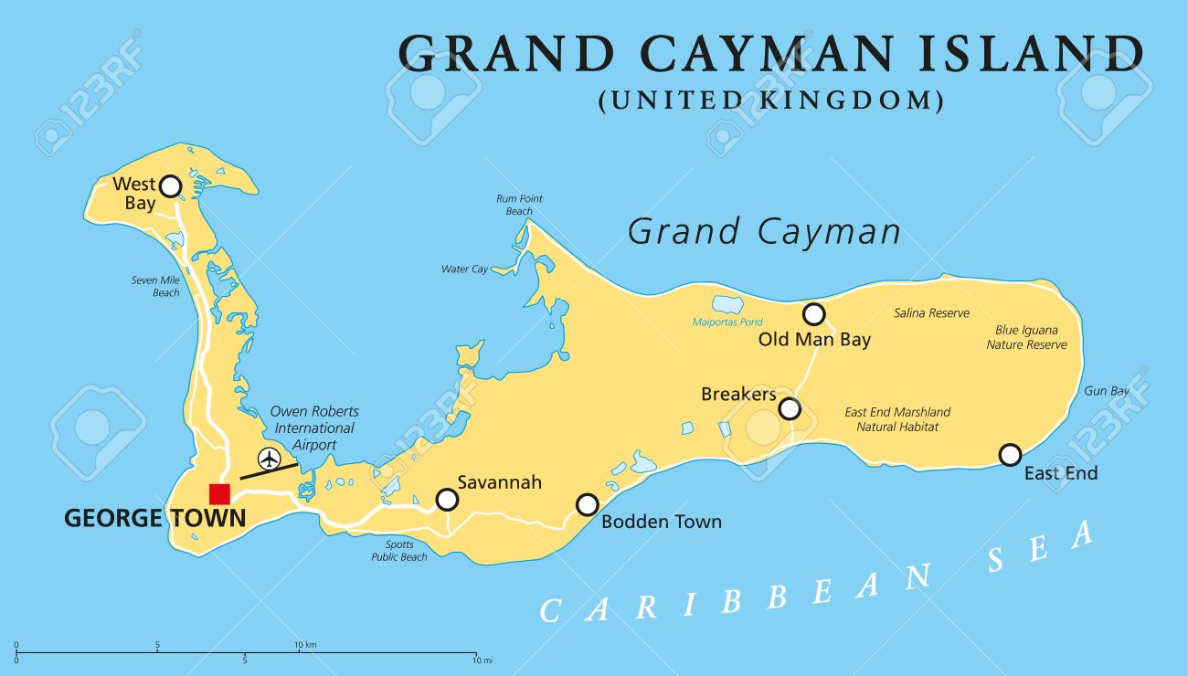 Grand Cayman Island Political Map With Capital George Town And Important  Places, The Largest Of