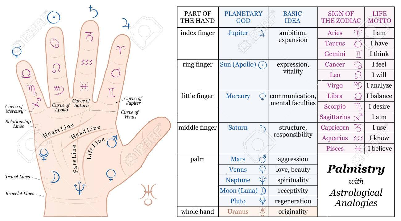 Palmistry astrology analogy chart accurate description of the palmistry astrology analogy chart accurate description of the corresponding planetary gods and zodiac signs along nvjuhfo Image collections