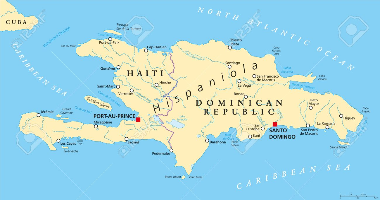 Hispaniola Political Map With Haiti And Dominican Republic Located