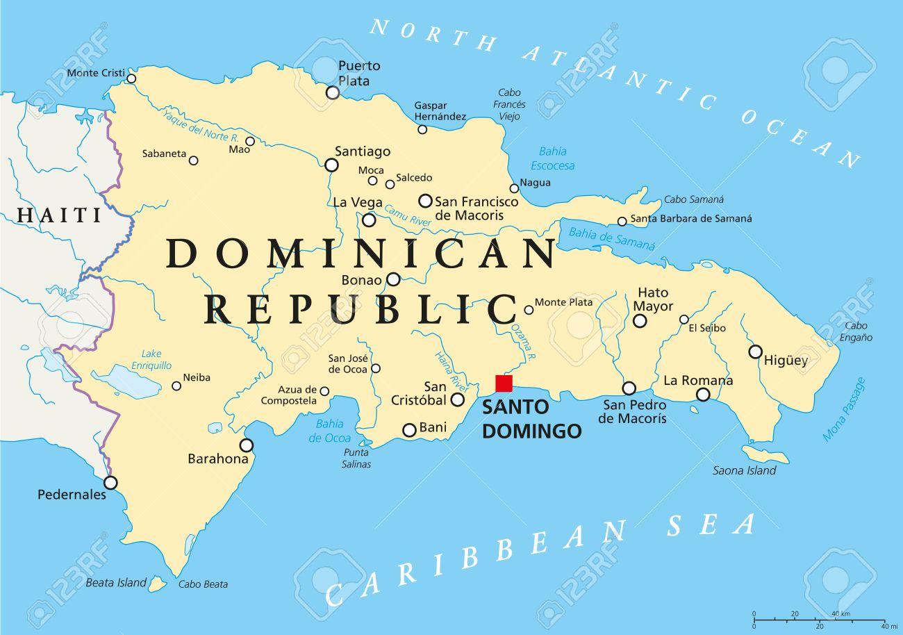 Dominican Republic Political Map With Capital Santo Domingo - Santo domingo map