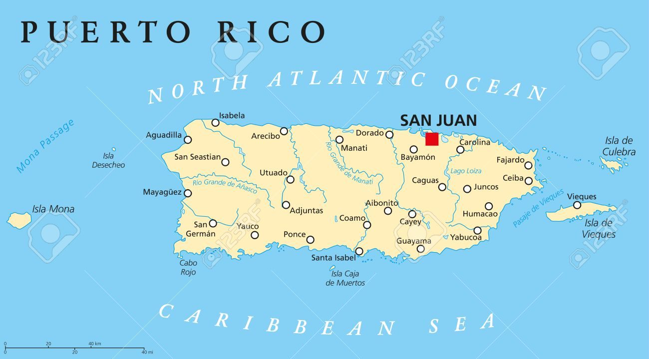 Puerto Rico Political Map with capital San Juan, a United States..