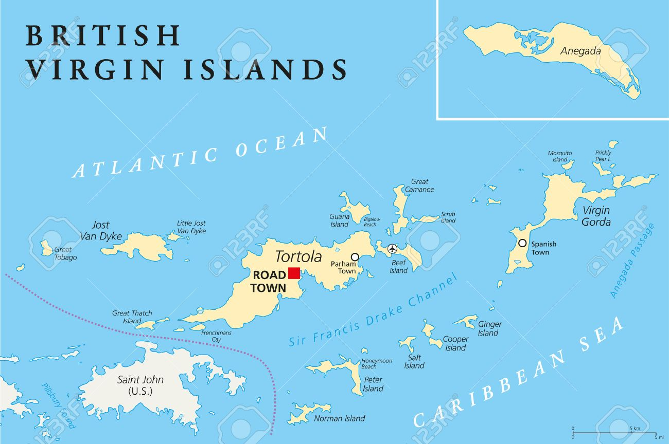 British Virgin Islands Political Map A British Overseas Territory