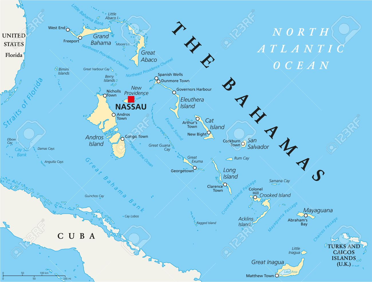 The Bahamas Political Map With Capital Nassau, Important Cities ...