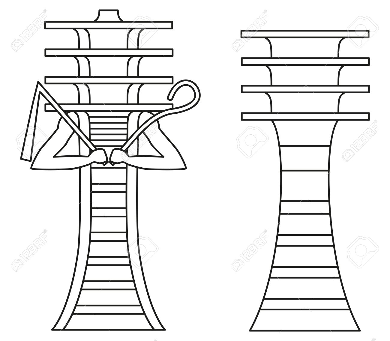 Simple Djed Pillar And Djed Pillar With Crook And Flail Hieroglyph