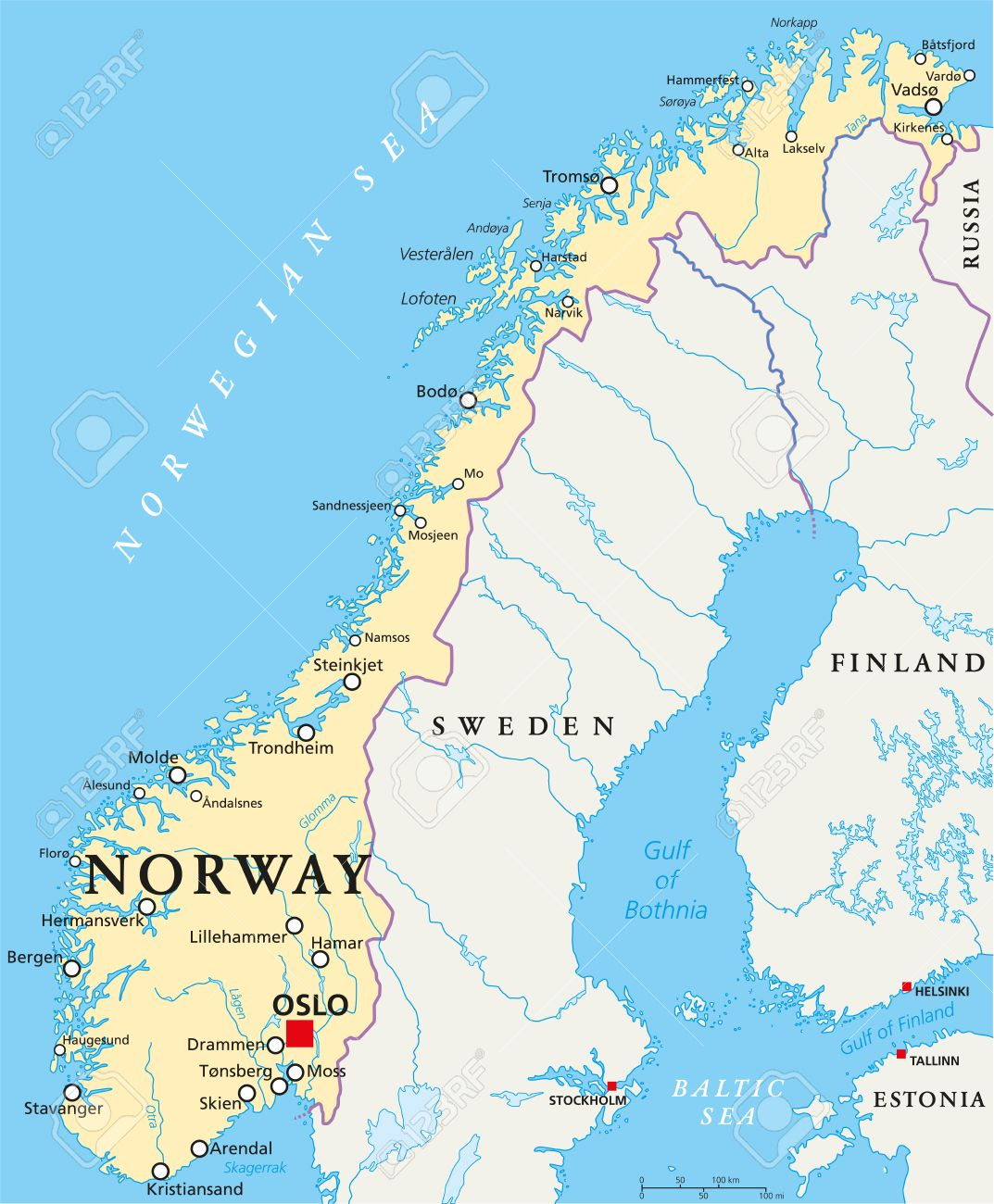 Norway Political Map With Capital Oslo National Borders Important