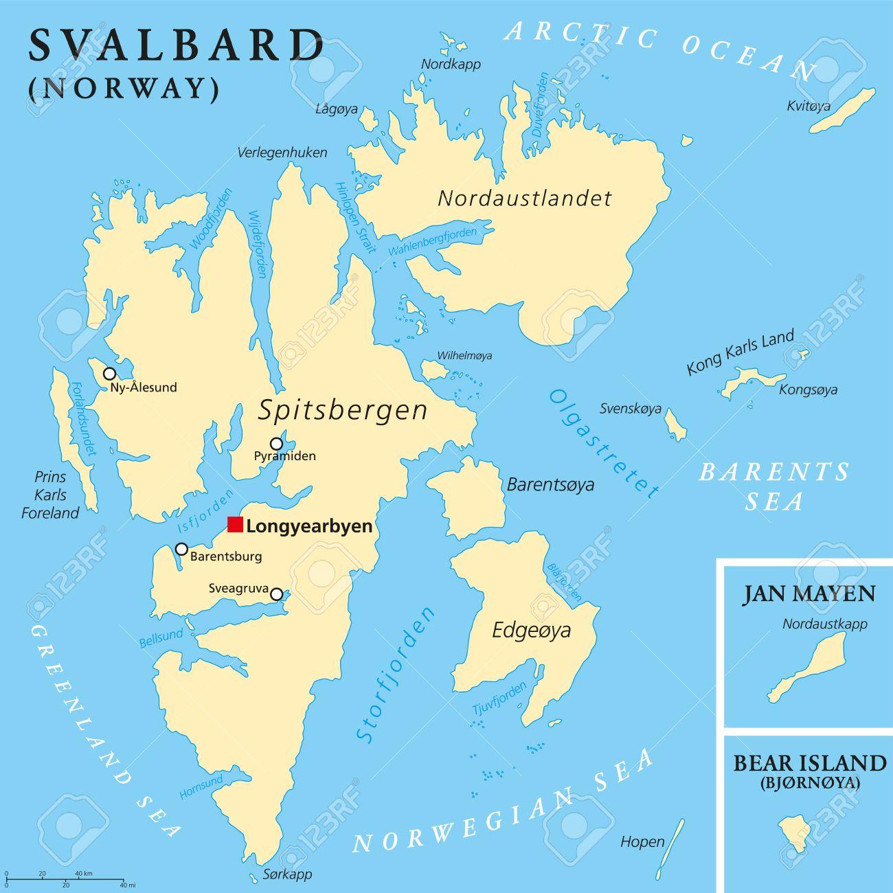 Svalbard Political Map With Capital Longyearbyen A Norwegian