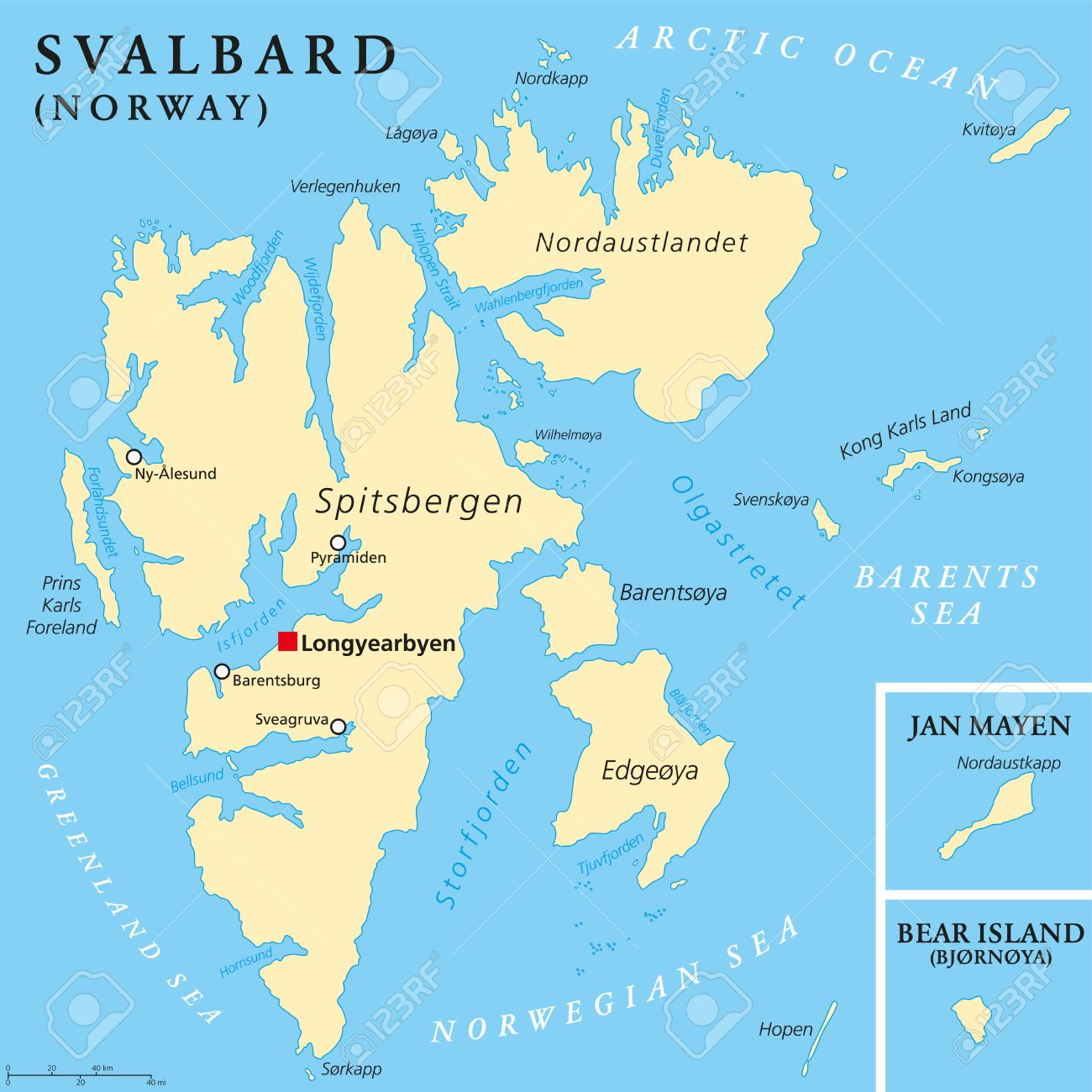 Svalbard Political Map With Capital Longyearbyen A Norwegian