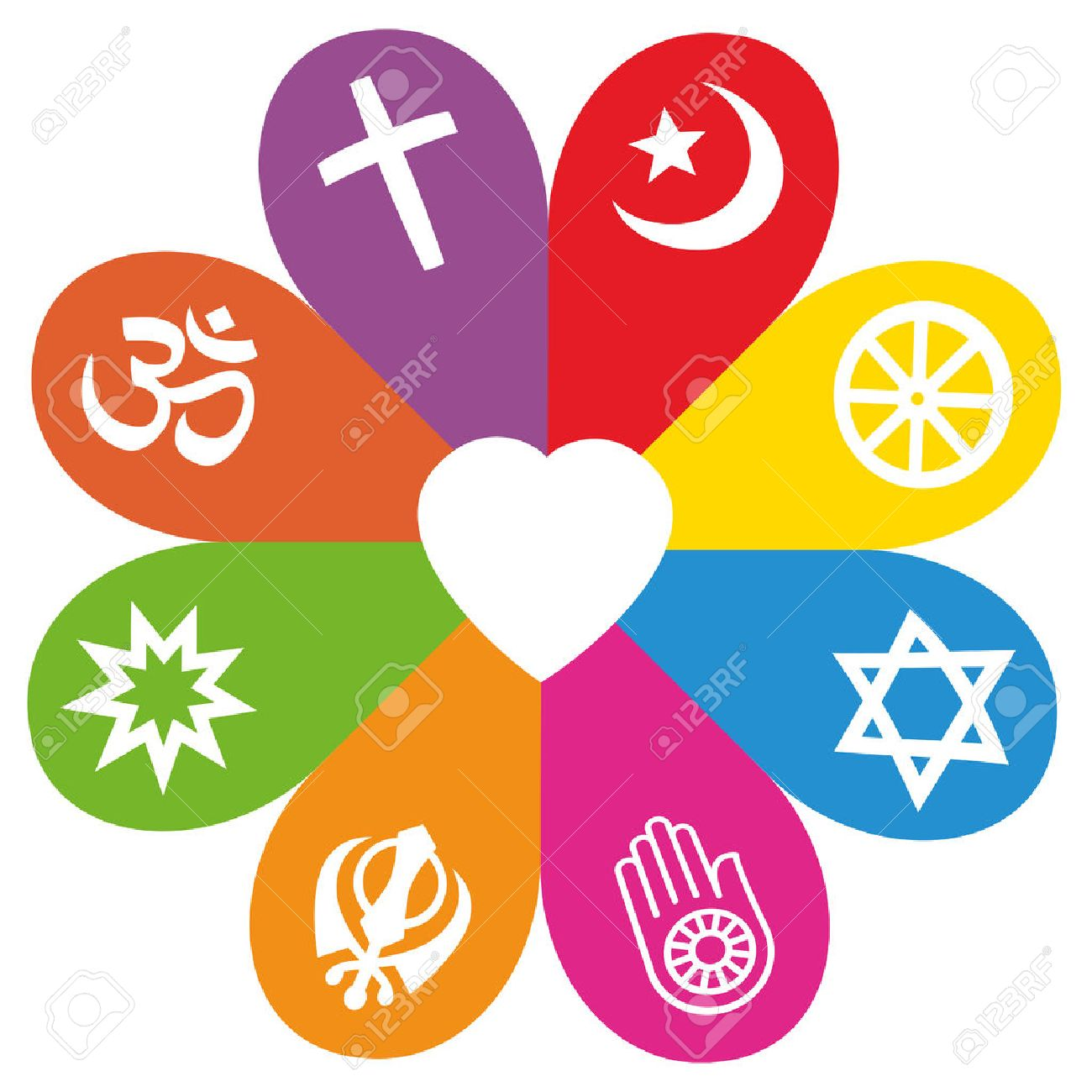Religious Signs On Colored Petals Assembling Around A Heart As A