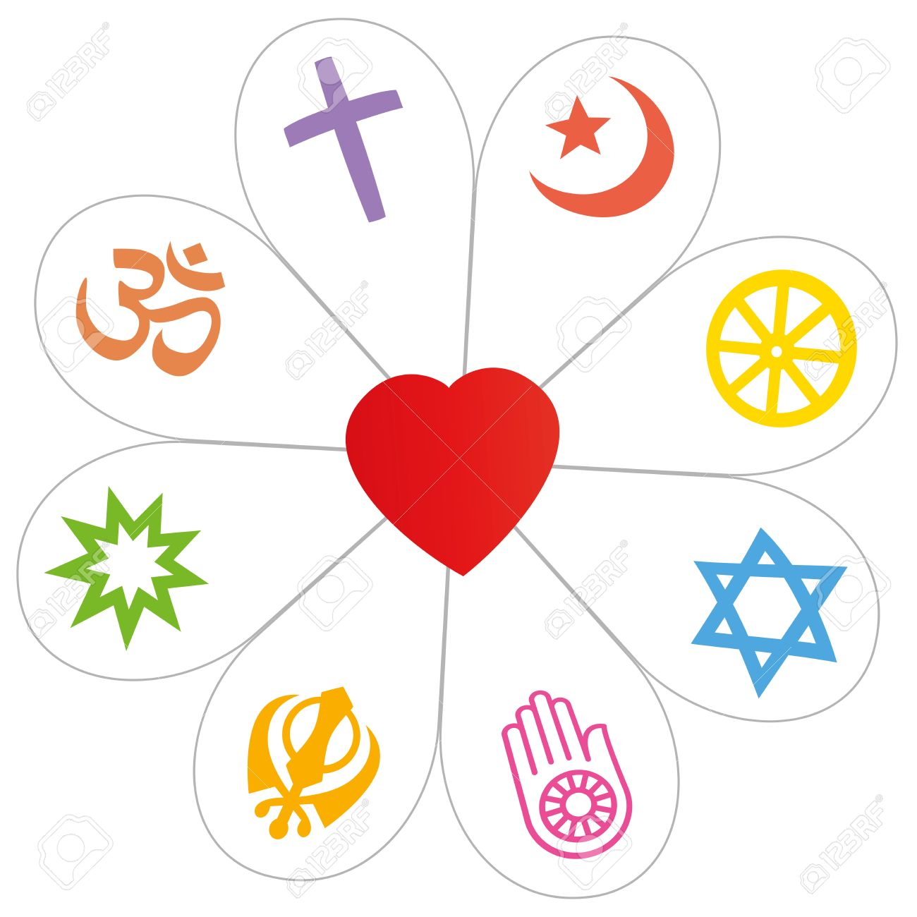Religious Symbols Did Form A Flower With A Heart As A Symbol