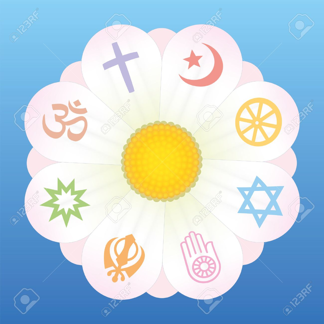 World Religion Symbols On Petals Of A Flower As A Symbol For