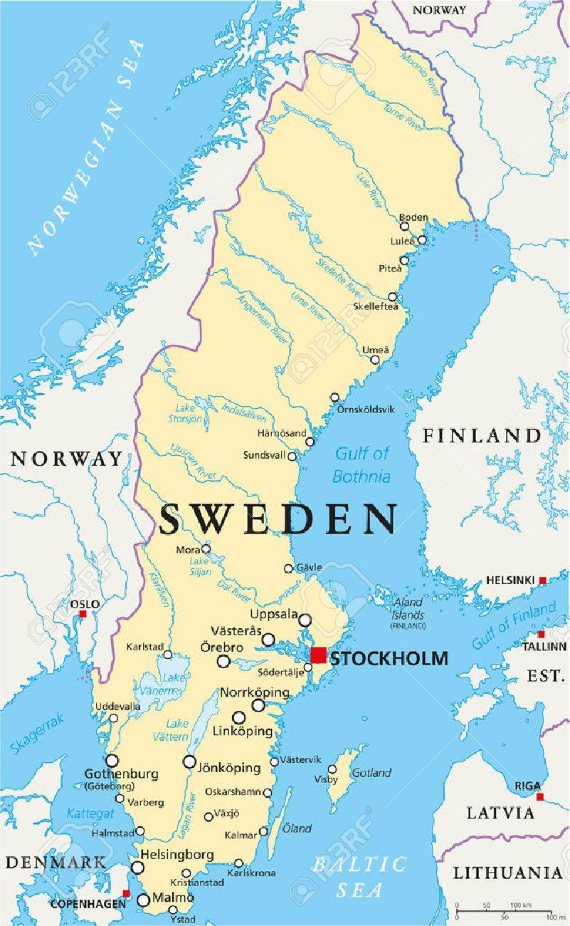 Suecia Mapa Politico Con El Capital De Estocolmo Ilustraciones