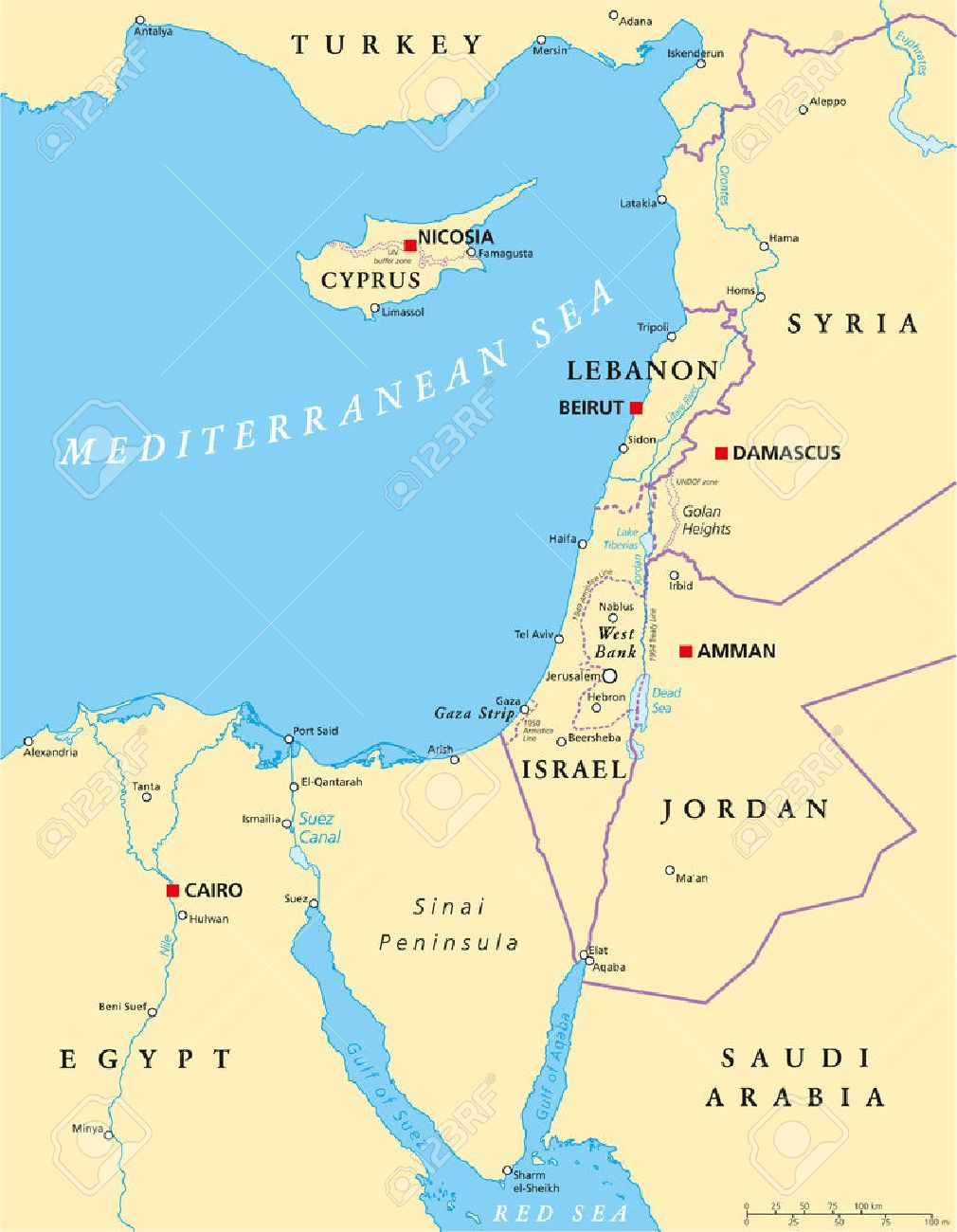 Mediterranean Political Map.Eastern Mediterranean Political Map With National Capitals Borders