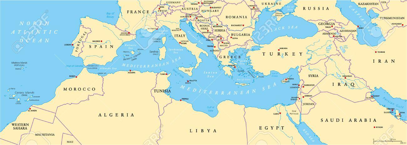 Carte De Leurope Et Moyen Orient.Bassin Mediterraneenne Carte Politique Europe Du Sud Afrique Du Nord Et Proche Orient Avec Les Capitales Des Frontieres Nationales Rivieres Et Les