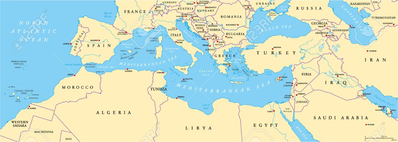 Mediterranean Basin Political Map. South Europe North Africa