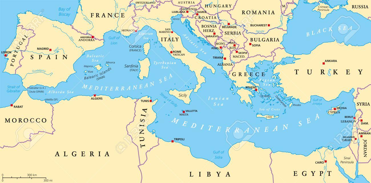 Mediterranean Sea Map & Stock Royalty Free
