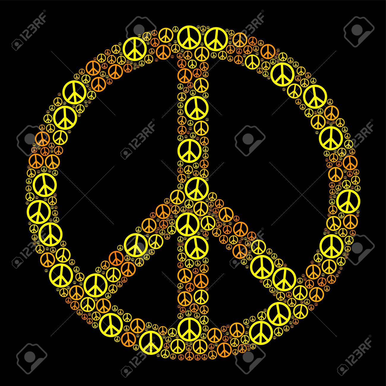 Colored peace sign formed by many small peace symbols yellow colored peace sign formed by many small peace symbols yellow orange illustration on black background biocorpaavc Images