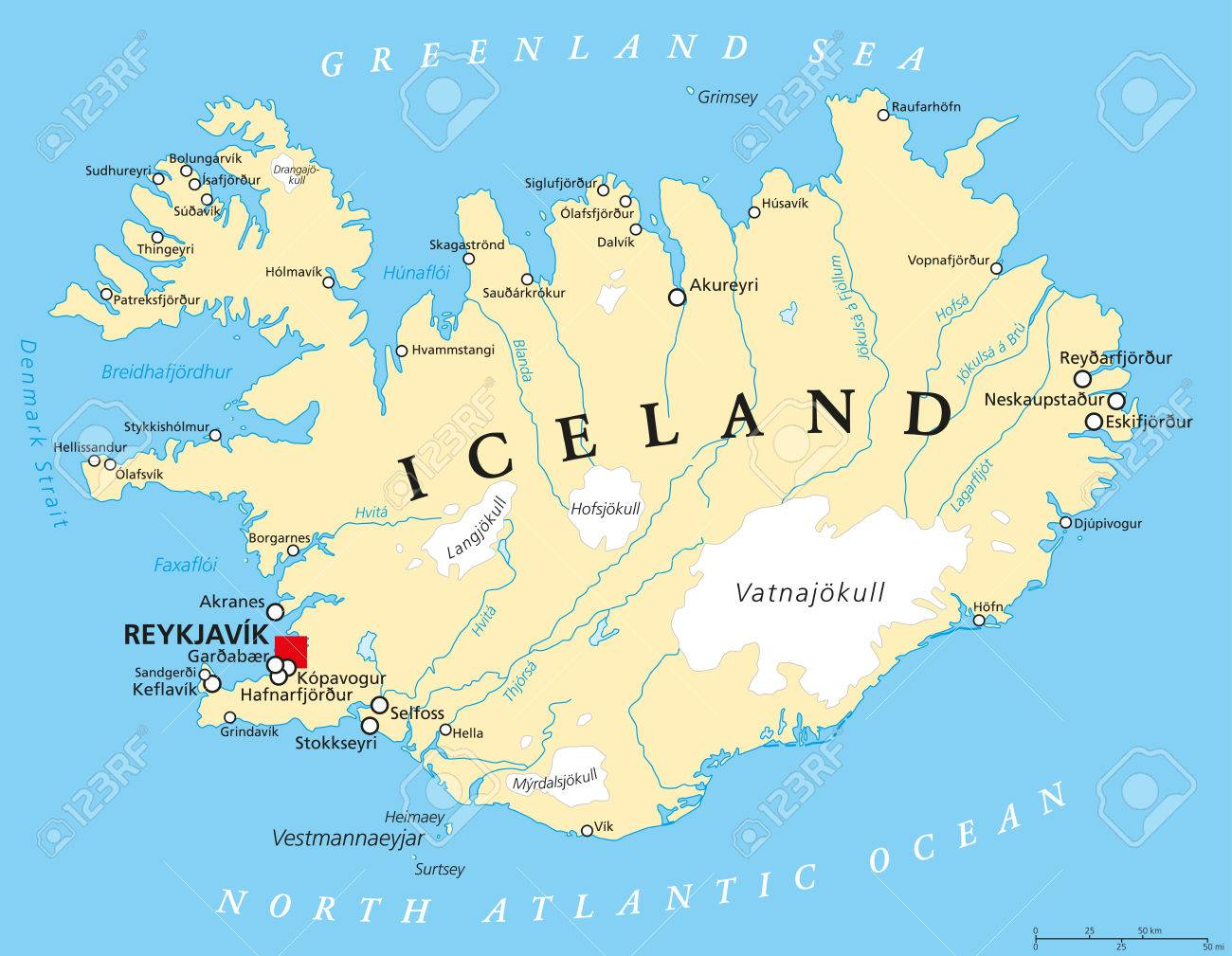 Reykjavik Iceland Map Iceland Political Map With Capital Reykjavik National Borders