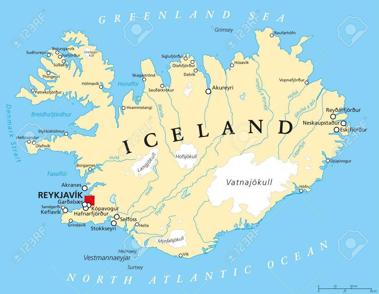 Islanda Politica Mappa Con Capitale Reykjavik Confini Nazionali Importanti Laghi Citta Fiumi E Ghiacciai Etichettatura Inglese E Il
