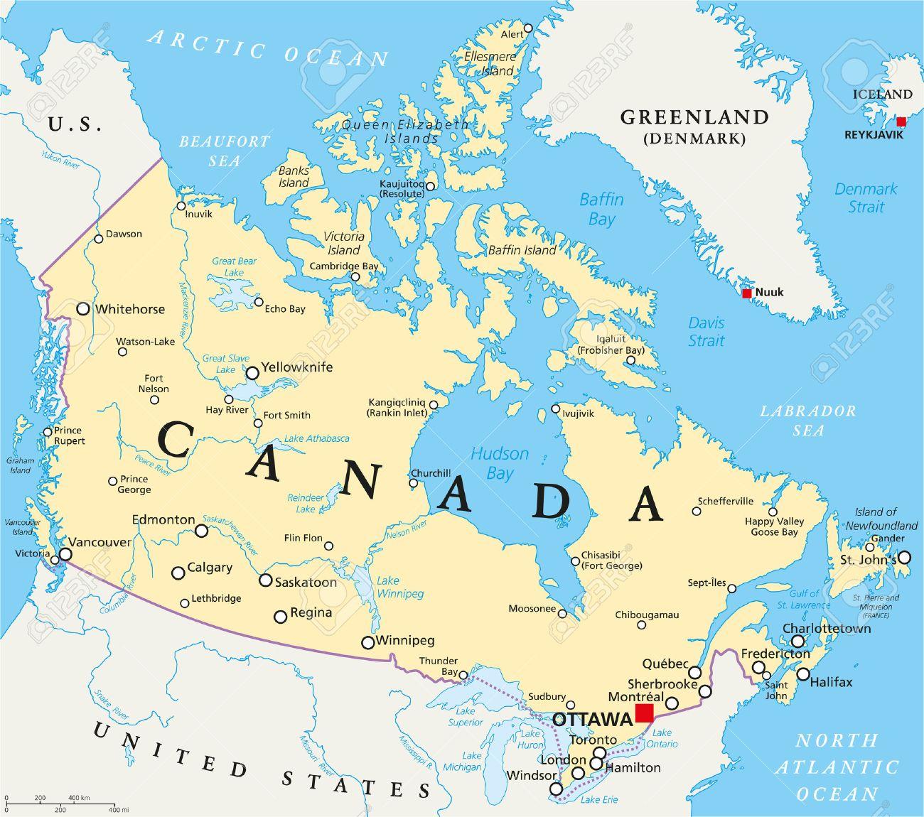 Cartina Canada Politica.Canada Politica Mappa Con I Confini Nazionali Capitale Ottawa Importanti Citta Fiumi E Laghi Etichettatura Inglese E Il Ridimensionamento