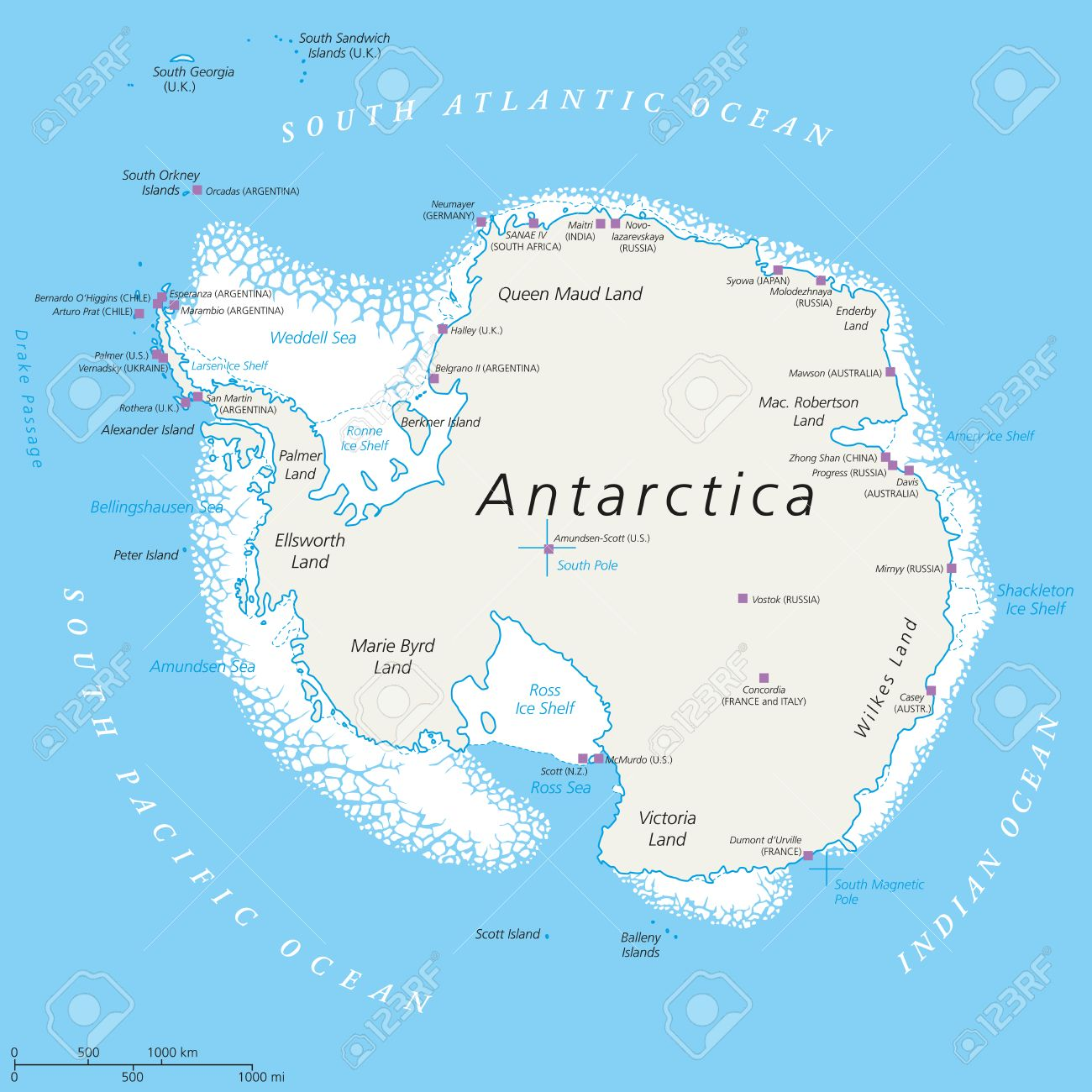 Antarctica Political Map With South Pole Scientific Research