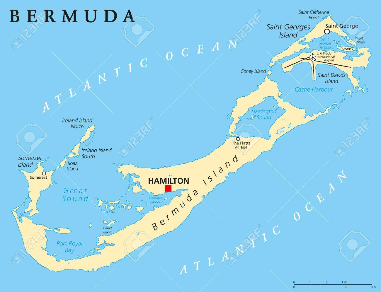 brand new e5c23 0d499 Bermuda Political Map with capital Hamilton also called The Bermudas..