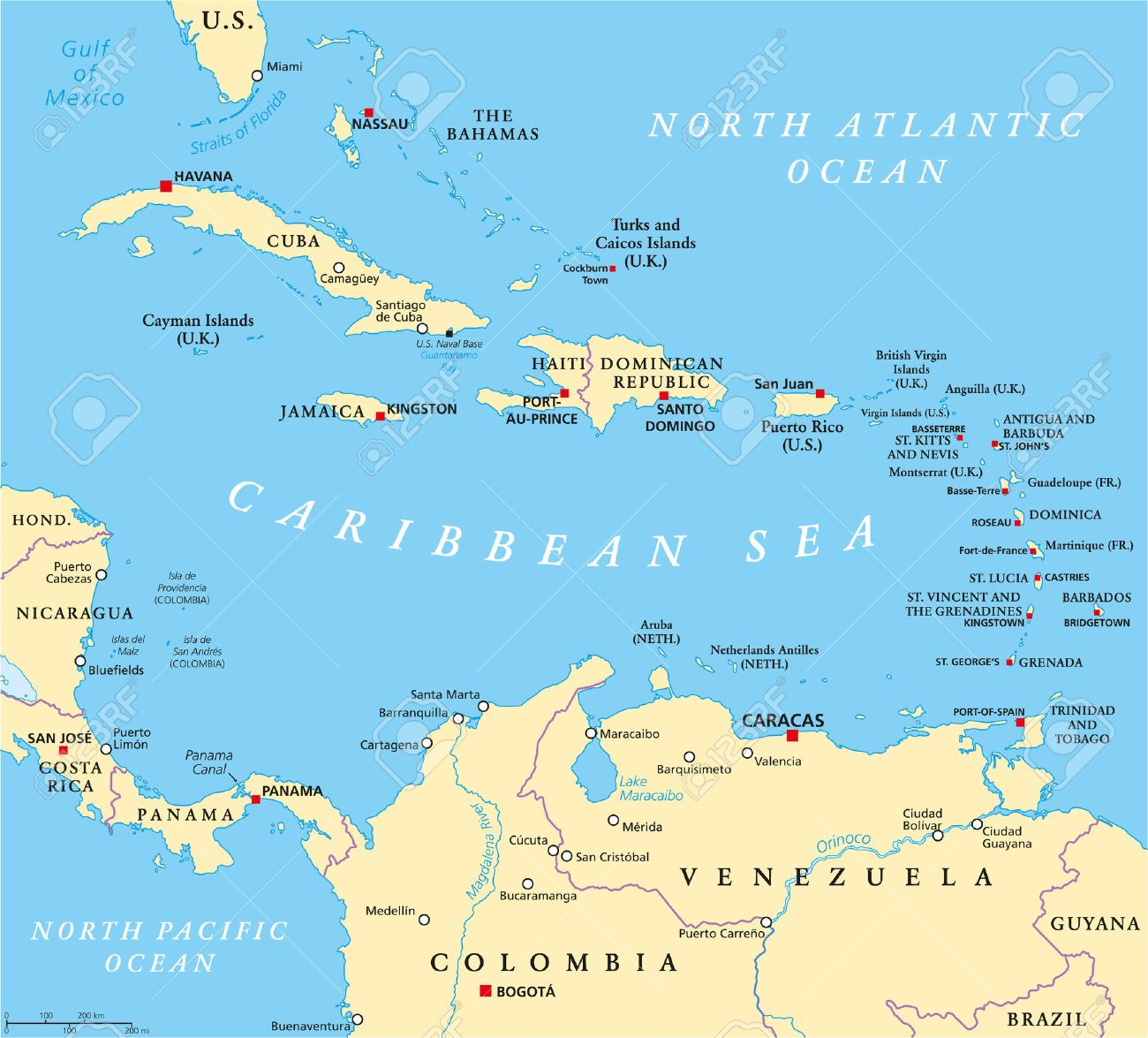 Caribbean Political Map With Capitals National Borders Important - Map of carribean