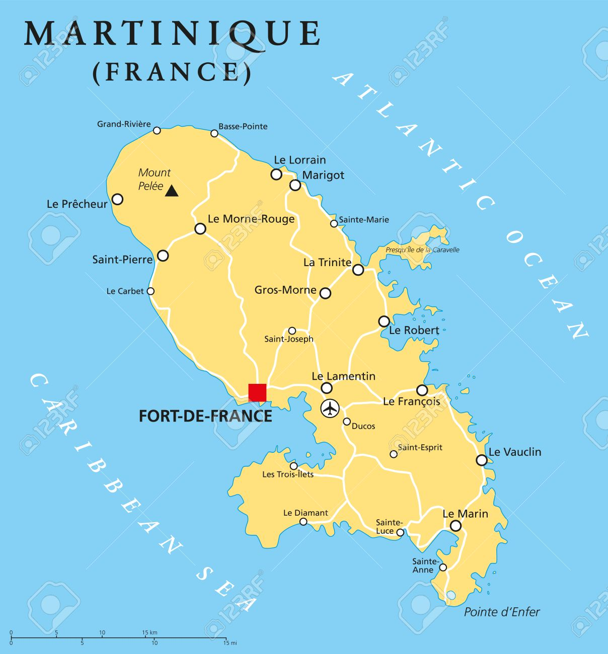 Martinique Political Map With Capital FortdeFrance And Important