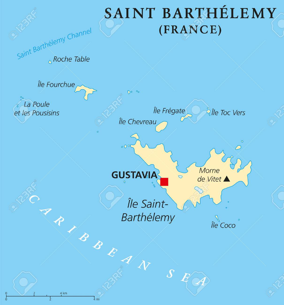 Saint barthelemy political map with capital gustavia also called saint barthelemy political map with capital gustavia also called st barts or st barths publicscrutiny Choice Image