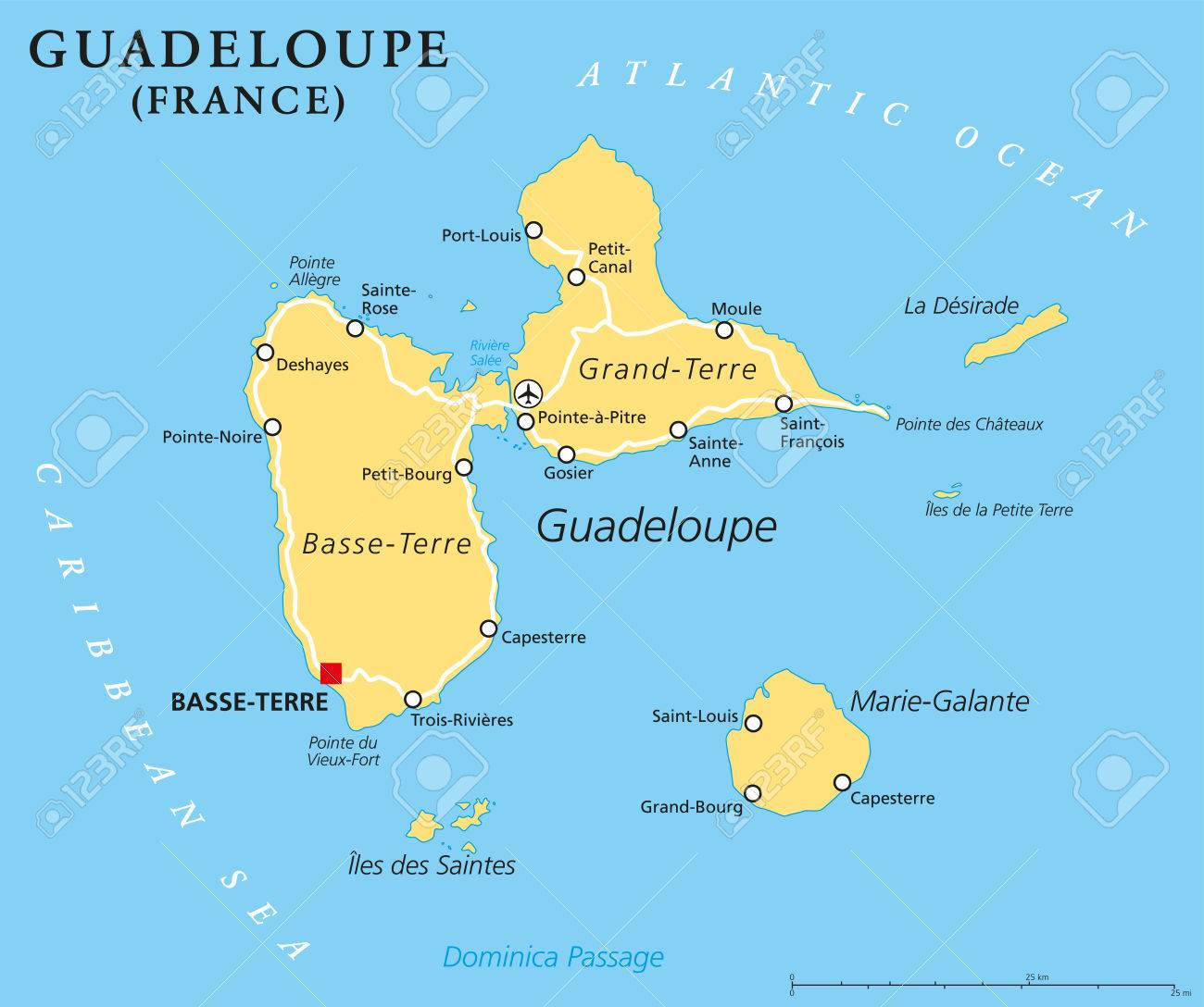 Capital Of France Map.Guadeloupe Political Map With Capital Basseterre An Overseas