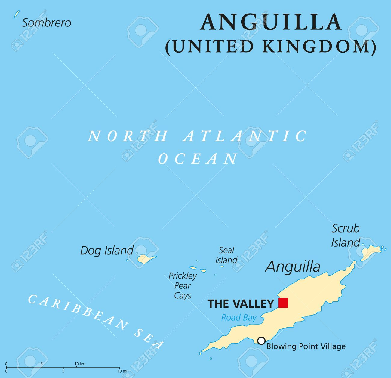 Anguilla Political Map With Capital The Valley British Overseas